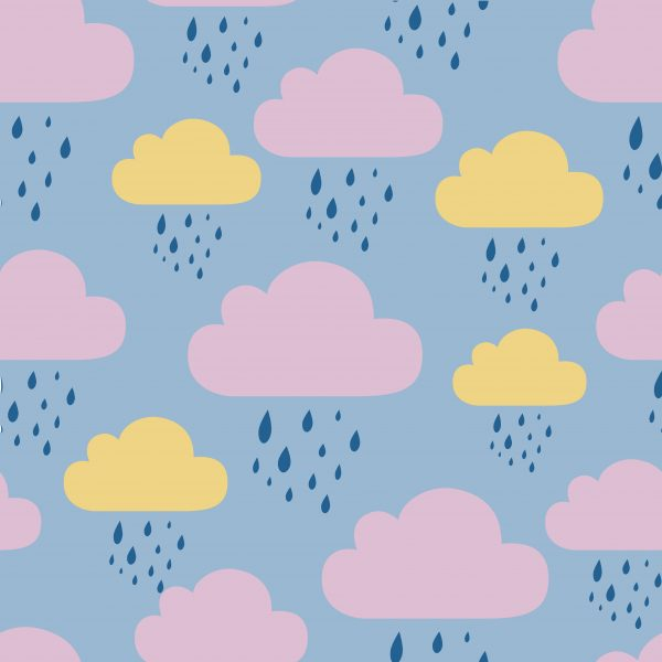 Colour changing Umbrella for Kids - Clouds wet